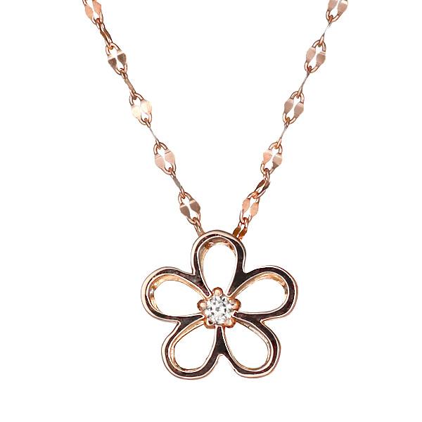 ネックレス K18ピンクゴールド ダイヤモンド フラワー お花 レディース 人気 ダイヤ プレゼント【DEAL】
