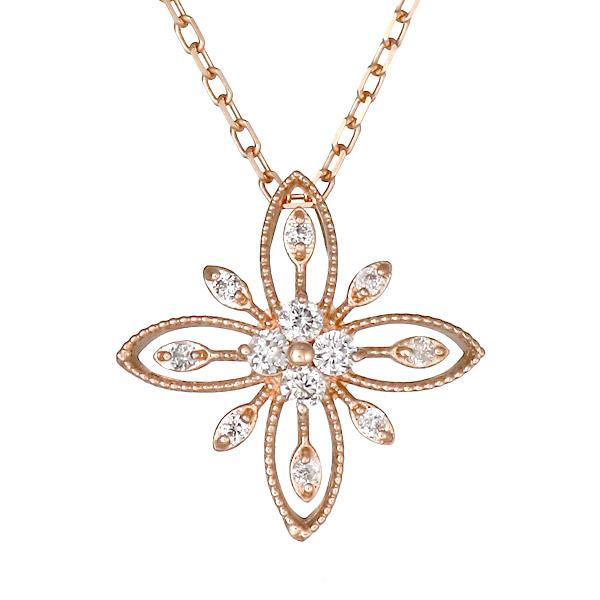 ネックレス K18ピンクゴールド ダイヤモンド フラワー お花 レディース 人気 ダイヤ プレゼント 末広 スーパーSALE