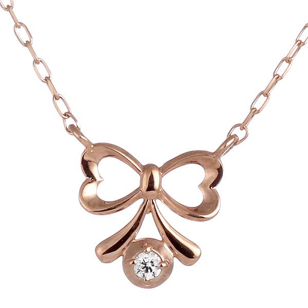 ネックレス ダイヤモンド リボン K10ピンクゴールド プレゼント
