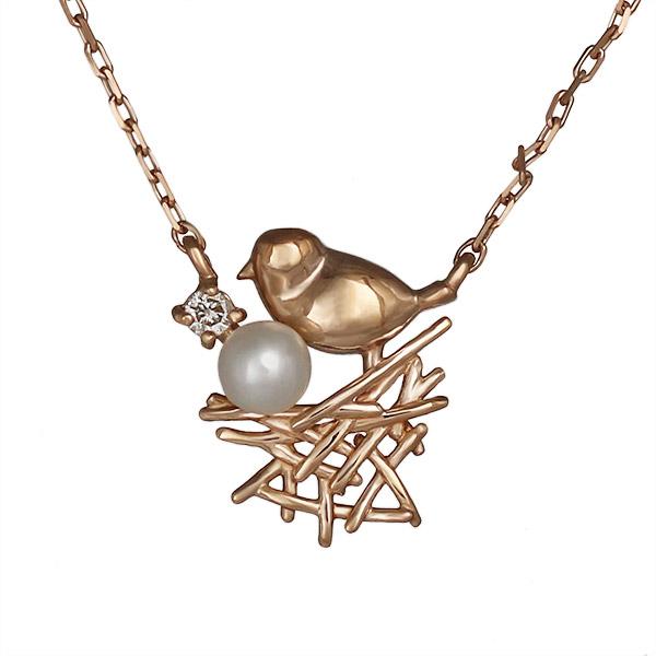 ネックレス ダイヤモンド 小鳥 バード 淡水パール K10ピンクゴールド プレゼント 末広 スーパーSALE【今だけ代引手数料無料】