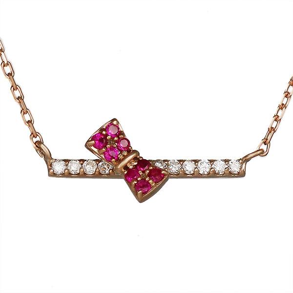 ネックレス ルビー ダイヤモンド リボン K10 ピンクゴールド プレゼント