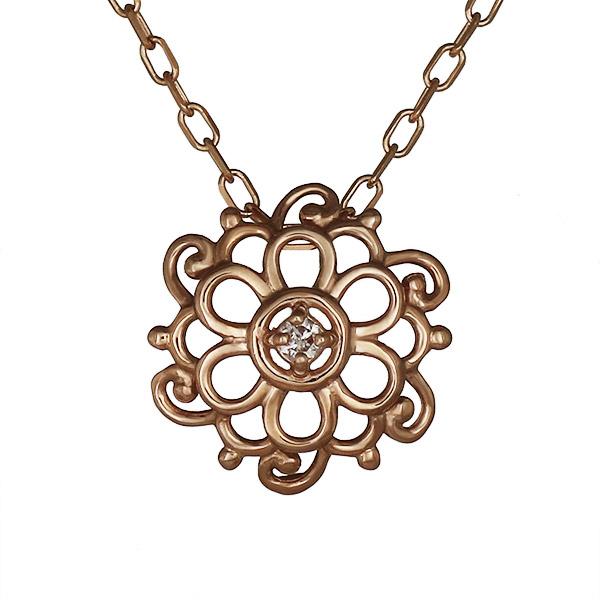 ネックレス ダイヤモンド フラワー お花 K18ピンクゴールド プレゼント