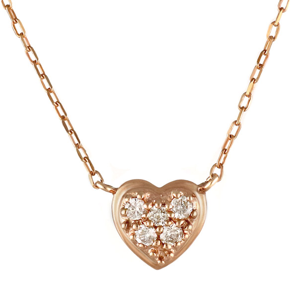 ネックレス ダイヤモンド K10 ピンクゴールド 10金 ダイヤ ハート【DEAL】 末広 スーパーSALE【今だけ代引手数料無料】