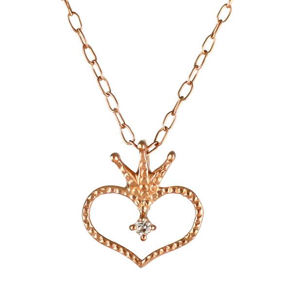 ネックレス ダイヤモンド K10 ピンクゴールド 10金 ダイヤ ハート ティアラ 王冠