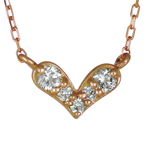 ネックレス ダイヤモンド K10 ピンクゴールド 10金 ハート