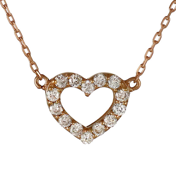 ダイヤモンド ネックレス 18金 ピンクゴールド ダイヤ ハートペンダント K18 レディース アクセサリー 送料無料 プレゼント おすすめ