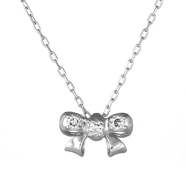 ネックレス K18ホワイトゴールド リボン モチーフ ダイヤモンド シンプル 人気