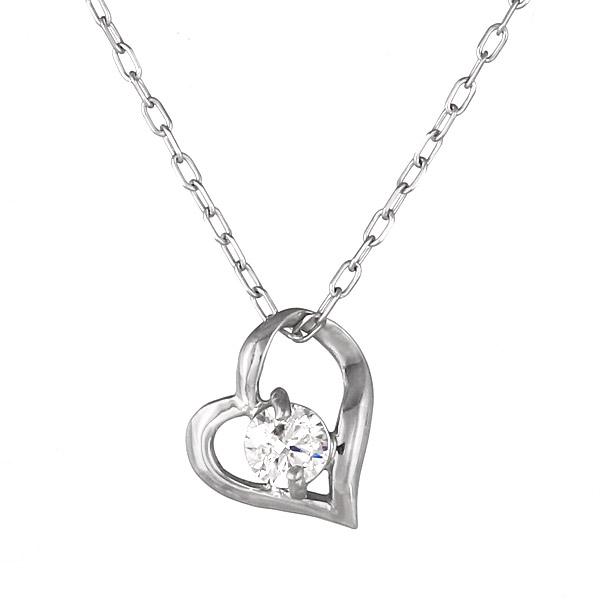 ネックレス K18ホワイトゴールド オープン ハート モチーフ ダイヤモンド シンプル 人気