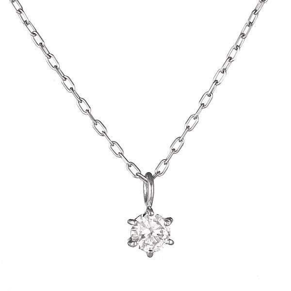 ネックレス K18ホワイトゴールド 一粒 ダイヤモンド シンプル 人気 プレゼント【DEAL】