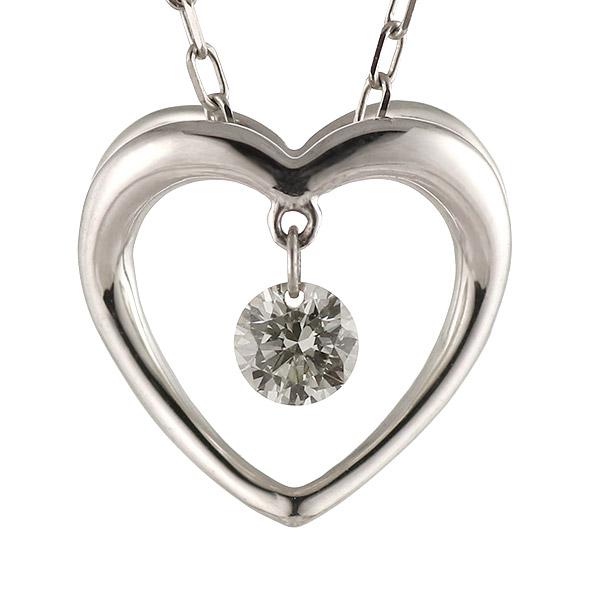 ネックレス ダイヤモンド K18 ホワイトゴールド 18金 オープン ハート プレゼント【DEAL】