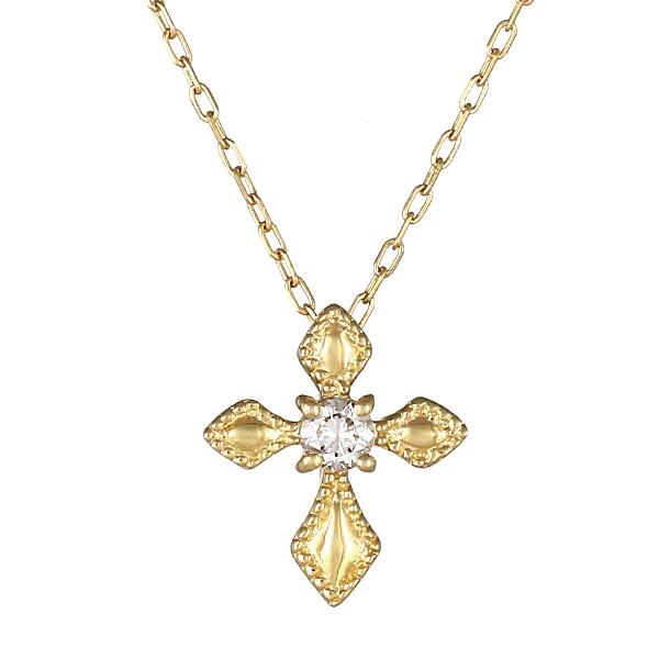 ネックレス K18 クロス モチーフ ダイヤモンド シンプル 人気