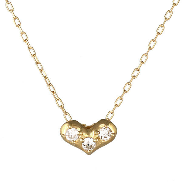 ネックレス K18 ハート モチーフ ダイヤモンド シンプル 人気