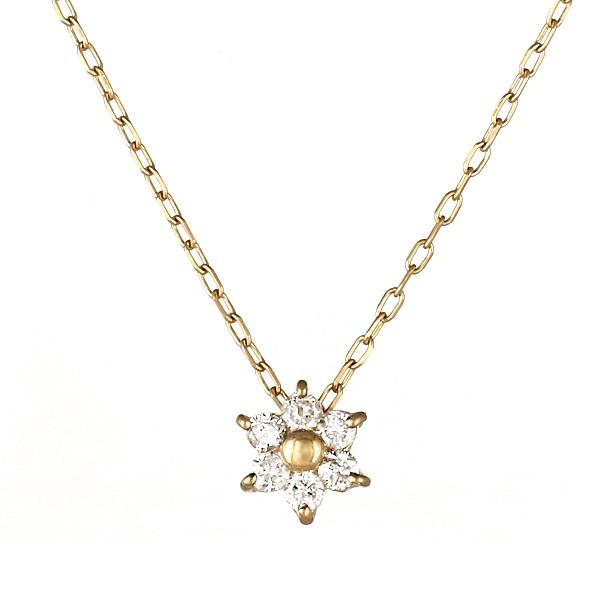 ネックレス K18 スター 星 モチーフ ダイヤモンド シンプル 人気 プレゼント