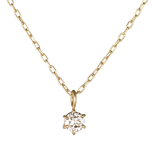 ネックレス K18 一粒 ダイヤモンド シンプル 人気 プレゼント
