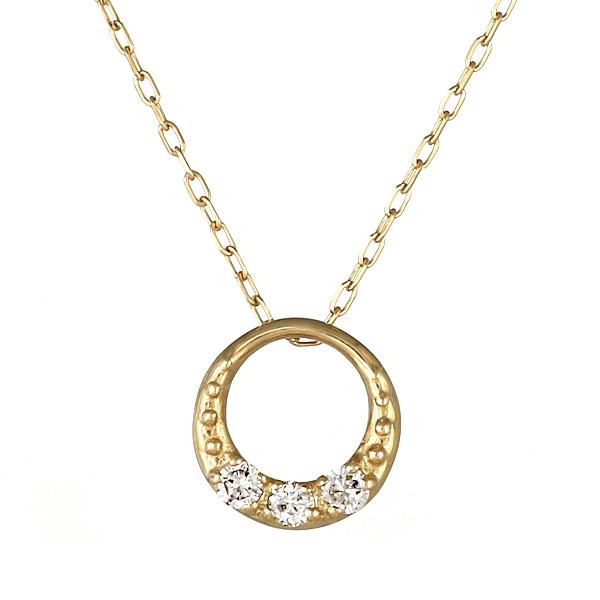 ネックレス K18 フープ ダイヤモンド シンプル 人気 プレゼント