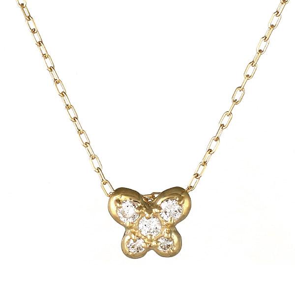 ネックレス K18 蝶 バタフライ モチーフ ダイヤモンド シンプル 人気 プレゼント