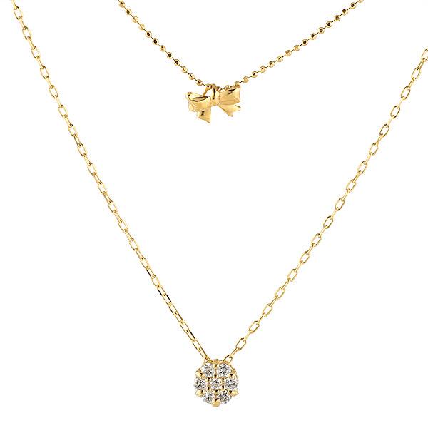 ネックレス ダイヤモンド K18 イエローゴールド 18金 リボン 二連 プレゼント 末広 スーパーSALE