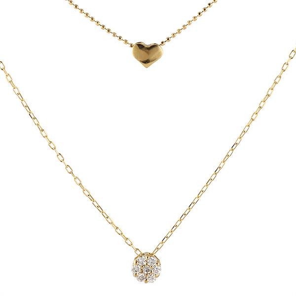 ネックレス ダイヤモンド K18 イエローゴールド 18金 ハート 二連 プレゼント 末広 スーパーSALE