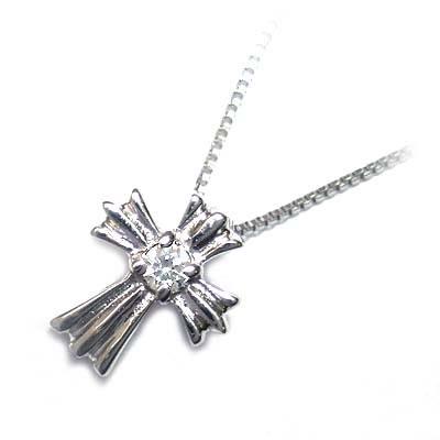 クロス ( 4月誕生石 ) K18ホワイトゴールド ダイヤモンドペンダントネックレス(クロスモチーフ)【DEAL】