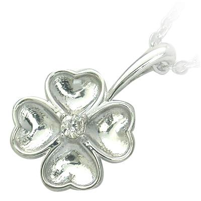 ネックレス メンズ ( 4月誕生石 ) シルバー ダイヤモンドペンダントネックレス(クローバーモチーフ)
