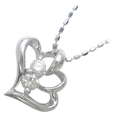 ( 4月誕生石 ) K10ホワイトゴールド ダイヤモンドペンダントネックレス(ハートモチーフ)