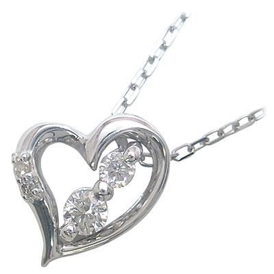 ハート K10ホワイトゴールドダイヤモンドペンダントネックレス(ハートモチーフ)