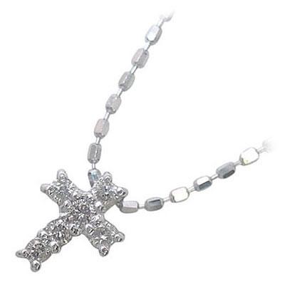 クロス K10ホワイトゴールドダイヤモンドペンダントネックレス(クロスモチーフ)