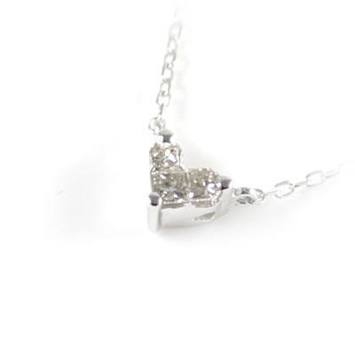 K10ホワイトゴールド ダイヤモンドペンダントネックレス(ハートモチーフ)【DEAL】