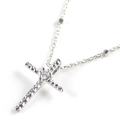 ネックレス メンズ ( 4月誕生石 ) K10ホワイトゴールド ダイヤモンドペンダントネックレス(クロスモチーフ)