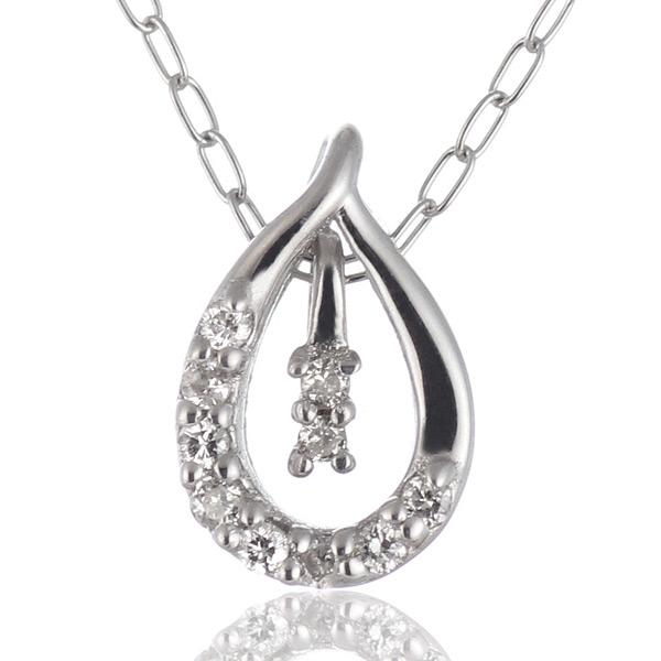 ダイヤモンド ネックレス ホワイトゴールド ダイヤモンド ペンダントネックレス 結婚 10周年記念-QP