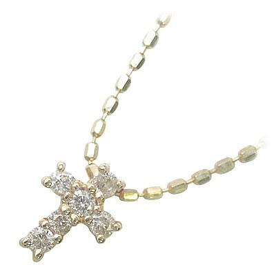 クロス K10イエローゴールドダイヤモンドペンダントネックレス(クロスモチーフ)