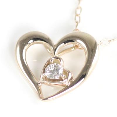 ネックレス メンズ ( 4月誕生石 ) K10ピンクゴールド ダイヤモンドペンダントネックレス(ハートモチーフ)