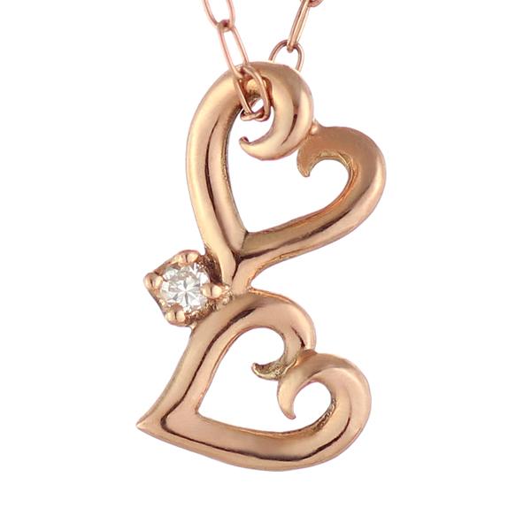 ネックレス ダイヤモンド 一粒 ネックレス ピンクゴールド ハート-QP【あす楽対応!!】 末広 スーパーSALE