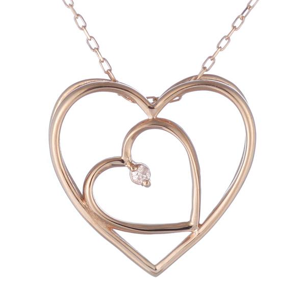 ネックレス 一粒 ダイヤモンド ネックレス ダイヤモンドネックレス ピンクゴールド ハート-QP【あす楽対応!!】【DEAL】