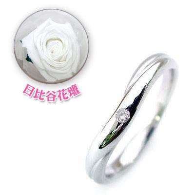 メンズリング 結婚指輪・マリッジリング・ペアリング( 4月誕生石 )ダイヤモンド(母の日 限定 日比谷花壇誕生色バラ付)