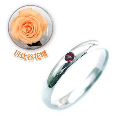 ペアリング 結婚指輪・マリッジリング・( 1月誕生石 )ガーネット(母の日 限定 日比谷花壇誕生色バラ付)