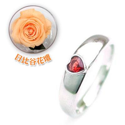 ペアリング 結婚指輪・マリッジリング・( 1月誕生石 )ガーネットCanCam掲載(母の日 限定 日比谷花壇誕生色バラ付)