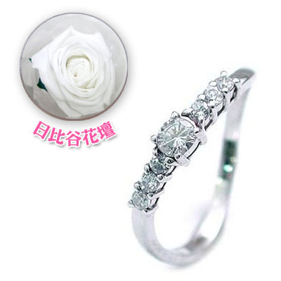 ( 4月誕生石 ) プラチナ ダイヤモンドリング(母の日 限定 日比谷花壇誕生色バラ付)【DEAL】
