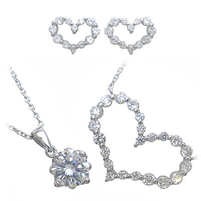 ( Brand Jewelry me. ) キュービックジルコニアペンダントネックレス&ピアス