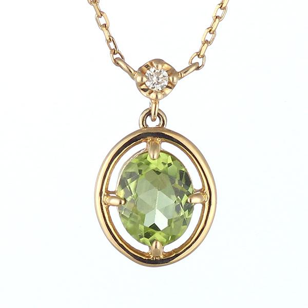 ダイヤモンド ペリドット ネックレス 8月 誕生石 イエローゴールド