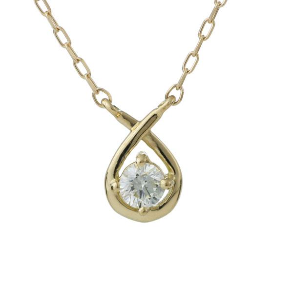 ダイヤモンド ネックレス しずく 18金