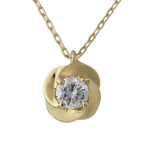 ダイヤモンド 一粒 ネックレス レディース 18金 ゴールド