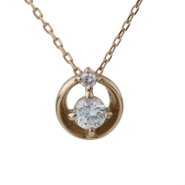 ダイヤモンド 一粒 ネックレス レディース 18金 ピンクゴールド