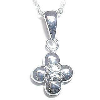 ( 4月誕生石 ) ダイヤモンドペンダントネックレス(フラワーモチーフ)