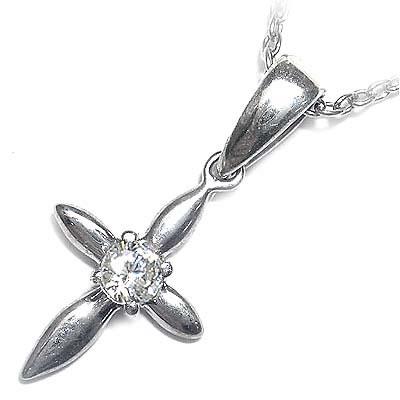 ( 4月誕生石 ) ダイヤモンドペンダントネックレス(クロスモチーフ)【DEAL】