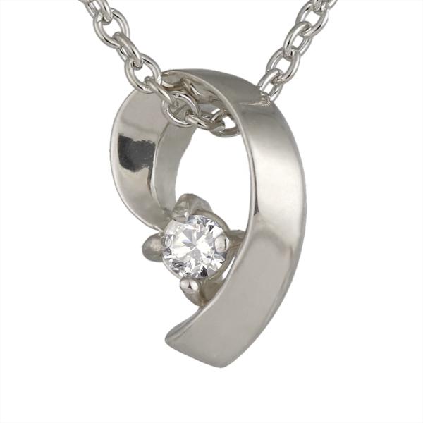 ( 4月誕生石 ) ダイヤモンドペンダントネックレス(リボンモチーフ) 【DEAL】 末広 スーパーSALE【今だけ代引手数料無料】