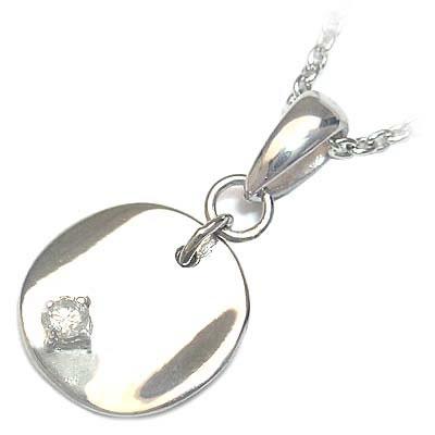 ネックレス メンズ ( 4月誕生石 ) シルバー ダイヤモンドペンダントネックレス