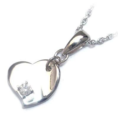 ネックレス メンズ ( 4月誕生石 ) シルバー ダイヤモンドペンダントネックレス(ハートモチーフ)