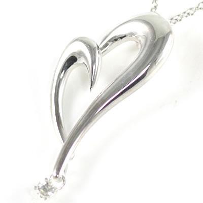 ( 4月誕生石 ) シルバー ダイヤモンドペンダントネックレス(ハートモチーフ)