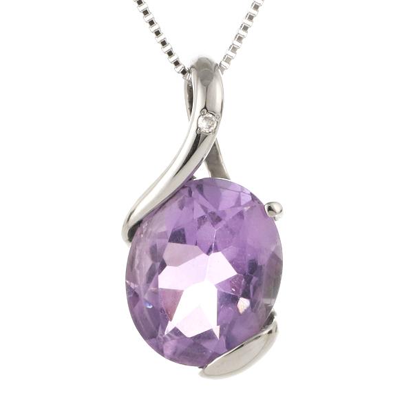 ネックレス レディース 天然石 アメジスト ダイヤモンド プラチナ ネックレス 2月 誕生石
